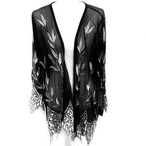 ALFANI | Black Embroidered Sheer Cardigan Size L
